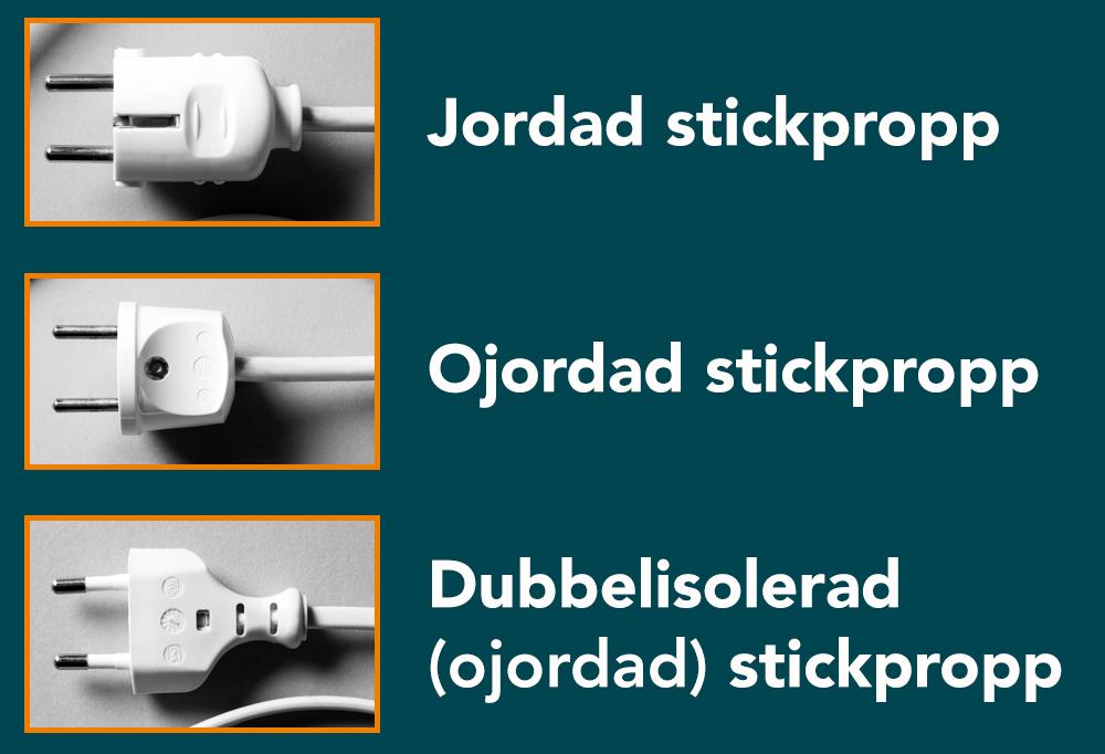 Jordad stickpropp, ojordad stickpropp och dubbelisolerad (ojordad stockpropp)